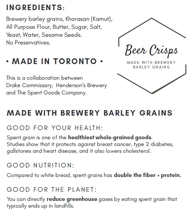 Beer Crisps made with spent grains